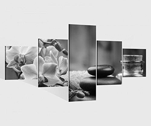 Leinwandbild 5 tlg. 200cmx100cm Wellness Feng Shui Orchidee Steine schwarz weiß Bilder Druck auf Leinwand Bild Kunstdruck mehrteilig Holz 9YA1495, 5Tlg 200x100cm:5Tlg 200x100cm
