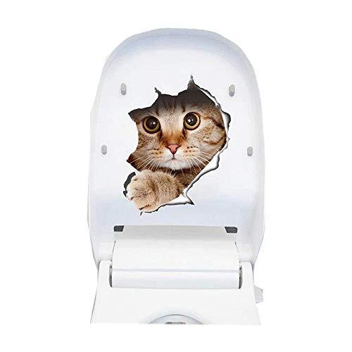 Vinilo decorativo pegatina WC para el baño puerta, Pegatina Impermeable 3D decoracion,Etiqueta de La Pared PVC Adhesivo Decorativo Perros y Gatos para Inodoro,Refrigerador,Frigorífico (gato 01)