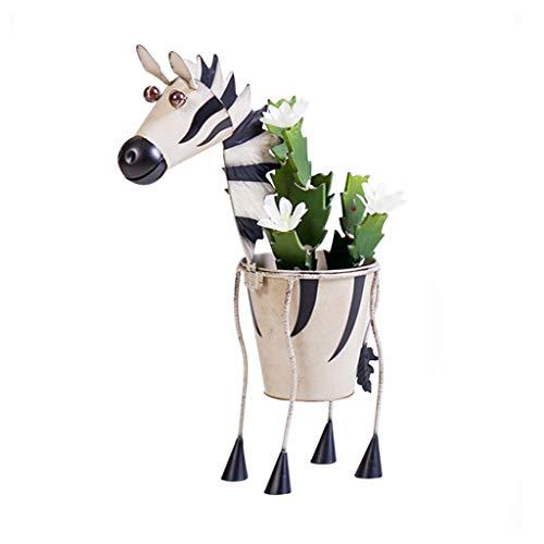 Blumenrahmen kreative Nordic Schmiedeeisen Tier Giraffe Zebra Boden Blumentopf Blume Hause Wohnzimmer Innenvase Dekoration Blumenkunst-Deko (Color : Beige, Size : 31 * 14 * 65.5cm(Color:Yellow))