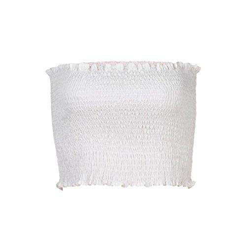 OVERDOSE Frauen trägerlosen elastischen Boob Bandeau Tube Tops BH Dessous Brust Wrap Bluse Sommer Basic Tops (A-White,EU-38/CN-M) -