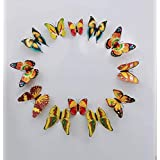 Rangoli Yellow Multi Color Beautiful Butterfly Plastic with Magnet and Gum Set of 12 pcs