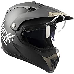 Westt® Cross · Casco Moto Estilo Motocross Trial con Doble Visera · Cascos de Moto Mujer y Hombre Off-Road en Negro Mate · ECE Homologado