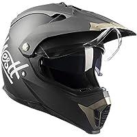 Westt® Cross · Casco de Moto Estilo Cross en Negro Mate con Doble Visera - ECE homologado