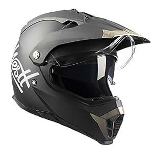 Westt® Cross · Casque de Motocross Double Visière pour Scooter Chopper Quad VTT· Casque de Moto Homme et Femme Intégral en Noir Mat · ECE Homologué