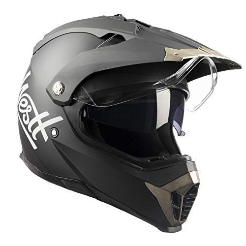 Westt Cross Casco De Moto Motocross Integral con Doble Visera - Negro...