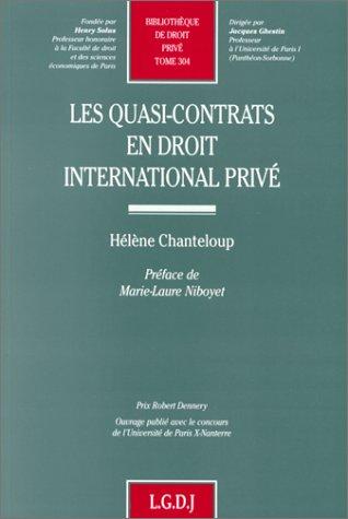 Les quasi-contrats en droit international privé