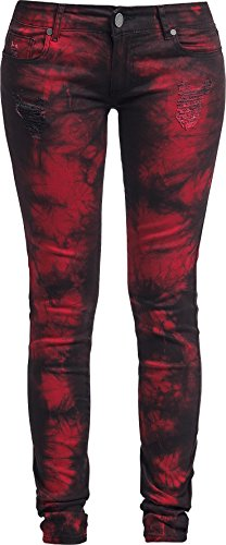 Rock Rebel by EMP Vicky Snow Wash (Skinny Fit) Jeans donna nero/rosso W31L34