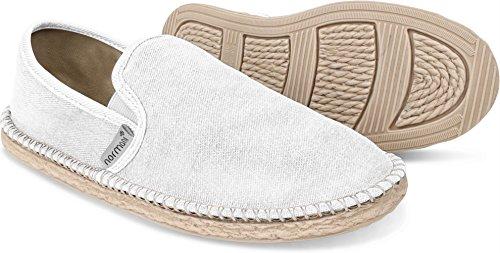 normani Sommer Schuhe - Klassische Espadrillas - Flache Stoffschuhe - Freizeitschuhe für Damen und Herren [Gr. 36-46] Farbe Weiß Style 1 Größe 46