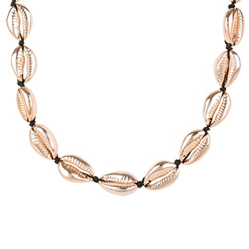 Cowrie Shell Choker Stand Necklace Rose Gold