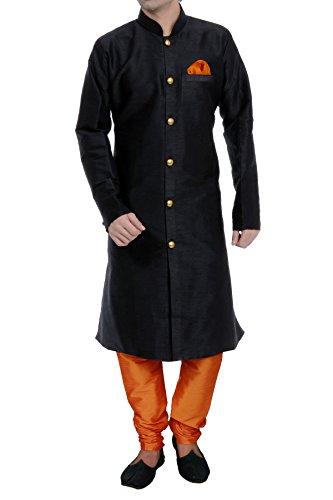 Vastramay Men's Cotton Silk Kurta Pyjama (Vasmkbl006Npor_44_Black & Orange)