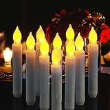 Cotek Bougies LED lumière, 12 PCS batterie sans flamme Bougies coniques à LED pour le mariage de Noël églises d'anniversaire et décorations de fête