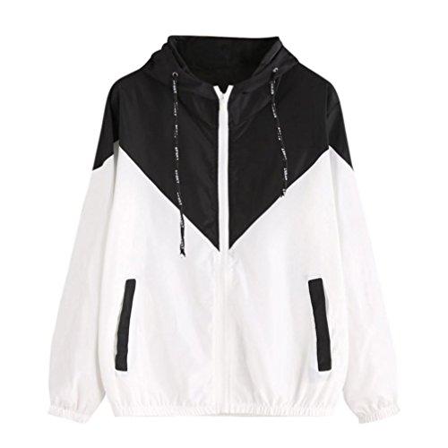 Mantel Damen Btruely Sport Jacke Mode Langarm Mit KapuzeOutwear Patchwork Mantel (S, Schwarz) (Bestickte Jack Pullover)