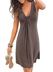 Strandkleider Damen Sommer Kurz Casual Ärmellos A Linie Kleid Minikleid Sommerkleid (Kaffee, M)
