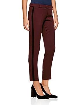 oodji Ultra Mujer Pantalones Ajustados con Inserciones