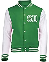 VARSITY JACKET WITH FRONT INITIAL PERSONALISATION (Kelly Green / White) By 123t