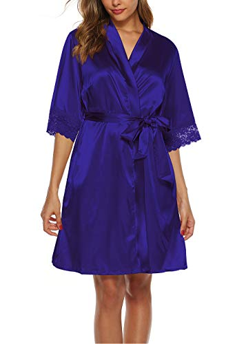 ABirdon Kimono Mujer Bata para Satén Batas Cortos Adorno de Encaje Dormir de Albornoz para Despedida...