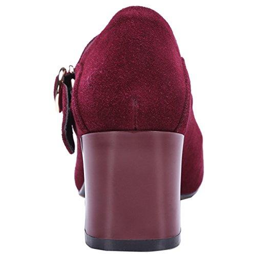 ENMAYER Femmes Mary Jane Bretelles en Cuir Ankle Strap Heel Office Lady Pumps Court Shoes Rouge#705