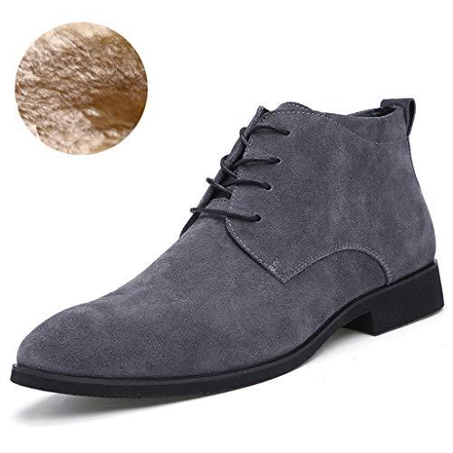 Djiess Männer Chukka Stiefel Wildleder Tägliche Schnürung im Freien Quadratische Ferse Einfarbig Spitz Britische Mode Stiefeletten -