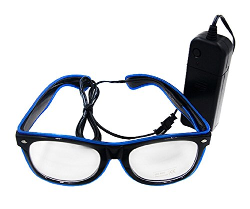 le Party Club LED Leuchten Brillen Partybrille Eyeglasses Nicht blendet mit Batterie Box Blau (Halloween Kostüm Party Musik)