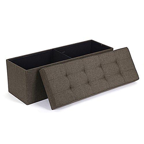 Songmics Sitzhocker Sitzbank mit verdicktem Schaumstoff faltbar 3-Sitzer leinen braun 110 x 40 x 38 cm LSF91Z