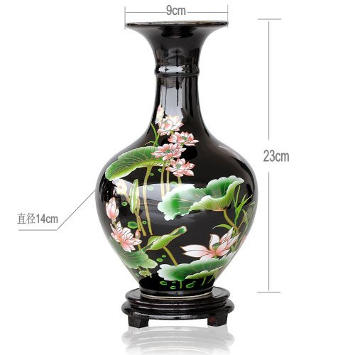 Jingdezhen Mode Dekorativ schwarz Pastel Lotus China-Vase China Vase