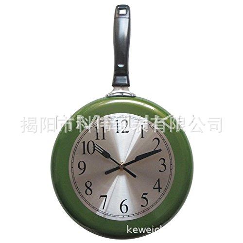 AGECC Einfach zu Lesen hängende Wanduhr Indoor Mode Kreative Uhr 10 Zoll Uhr Zifferblatt Edelstahl Pan Metall Uhr grün