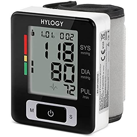 Hylogy Tensiómetro de Muñeca de Alta Exactitud, 2 * 90 Memorias, Posible para 2 Usuarios, Visible la Sistólica, Diastólica y Frecuencia del Pulso, Indicador de Latido Irregular del Corazón, Certificado por CE,