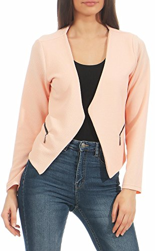 Malito Blazer Ante Basic-Look en Cremallera Business 6040 Mujer (L, Rosa)