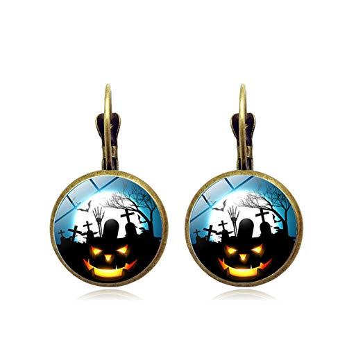 Blisfille Halloween Schloss Zeit Edelstein Ohrringe Vintage Bronze Ohrringe Urlaub Ohrringe Damen Herren Fest (Gruselig Schwangerschaft Halloween-kostüme)