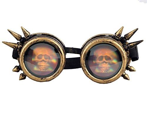 le Steampunk, Antique Copper Cyber Goggles Rave Goth Vintage Goggles für Weihnachten, Halloween, Cosplay, Tanzparty, Convert, Musik Festival, EDM, Light Show, Foto Stütze, Sports (Halloween-foto-rahmen-stütze)