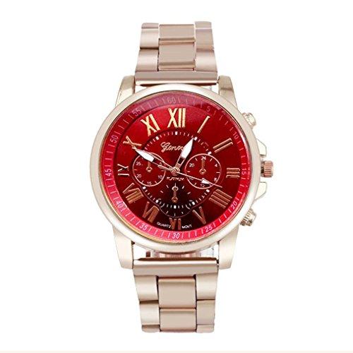 Rcool 2017 Luxus Mode Unisex Edelstahl Quarz Runde Zifferblatt Armbanduhr Rot