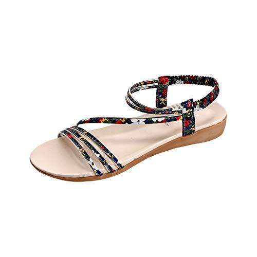 ♥ Loveso♥ Fashion Damen Sommer Elegant Böhmen Blumen Flip-Flop Schuhe Flache Sandalen Schuhe Mode Strandschuhe Zehentrenner Pantoletten ()