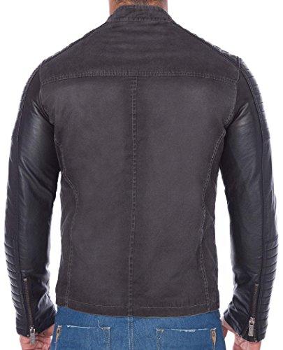 Redbridge Red Bridge Jacke Herren Biker Kunstleder Lederjacke Jacket mit Gesteppten Bereichen (S, Grau) - 4
