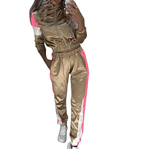 OEAK Damen Satin Freizeitanzug Sportanzug Jogginganzug Kontrastfarbe Streifen Reißverschluss Sportjacke Jogger Sporthose mit Tunnelzug Sweatanzug 2 Stück -