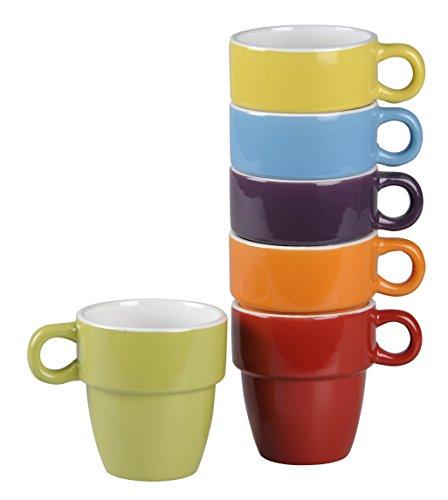 DRULINE Kaffeetasse MIRI Tasse Teetasse mit Henkel Tee Kaffee Becher Porzellan UNI Bunt (6er-Set)