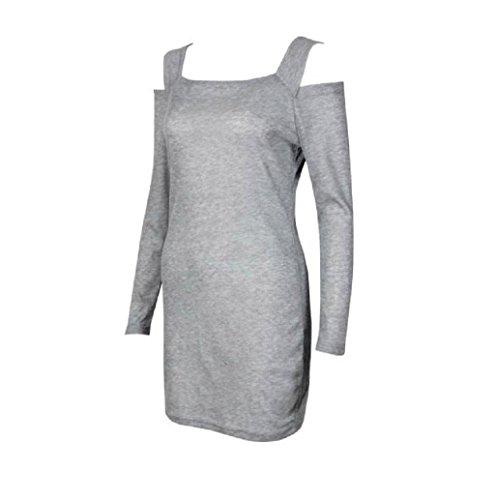 Rosennie Damen Crew Hals Strickwaren Mini Kleid Grau