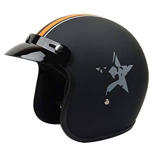 Casco Harley in Fibra di Vetro Opaco, Occhiali DOT omologati/Quattro Stagioni Casco Mezzo Moto Nero (M, L, XL, XXL),Yellow,XL