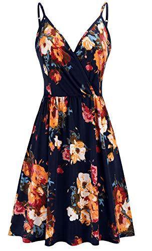 KorMei Damen Kleid Sommerkleid V-Ausschnitt Ärmellos Blumendruck Spaghetti Strap Mini Swing Strandkleid Blau S - Straps-mini