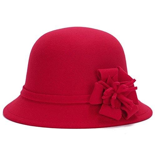 Lawevan® Femmes Fleur Cashmere Bowler Hats Rouge