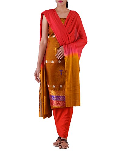 Unnati Silks Women Unstitched Brown-Pink Pure Handloom Kanchi Cotton Salwar Kameez(PR3889)