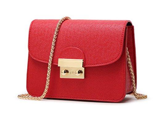 Mini Frauen Schultertasche PU Leder Nachricht Kleine Handtaschen Mit Ketten Schultergurt Handytasche Kreuz Körper Tasche (8 Farben) Red