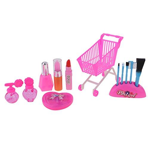 Gazechimp 13 Pcs Mini Puppen Kosmetik Make-up Satz für Barbie Puppenstube Dekorationen - Einkaufswagen + Lidschatten + kosmetik Box + Pinsel + Lippenstifte usw.