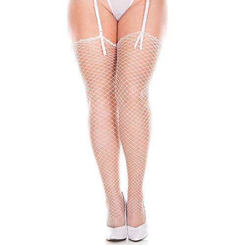 83750a78fab230 MUSIC LEGS Women's Plus Size Mini Diamond Net Spandex Stockings - white -  One Size