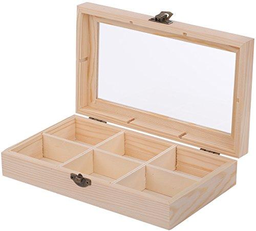 Teebox - 6 Fächer - mit Sicht-Deckel - 22 × 13.7 × 5 cm