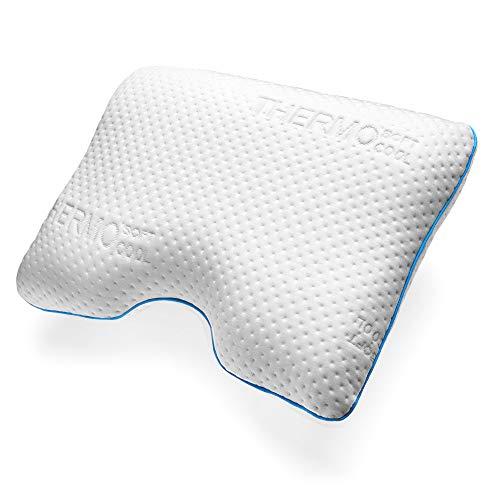 sofi Almohada Cervical viscoelástica Lateral | Almohada para Dormir de Lado ortopédica y ergonómica para el Cuello con Memory Foam | Funda termorreguladora | 51 x 56 x 12 cm