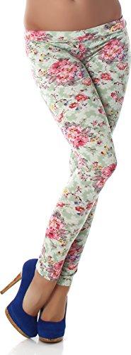 PF-Fashion Damen Leggings Leggins Body Slim Hose Karotte Lang Design Tapered Tarnmuster Blumen Batik Grün 34/36