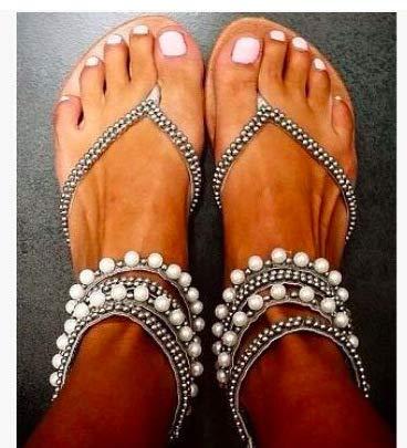 MENGLTX High Heels Sandalen Fashion New Beaded Sandals Damenschuhe, Schwarz, 43 Beaded High Heel Heels