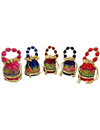 GoldGiftIdeas Women's Potli (Set of 5) (GGIPBG-162_Multicolored)