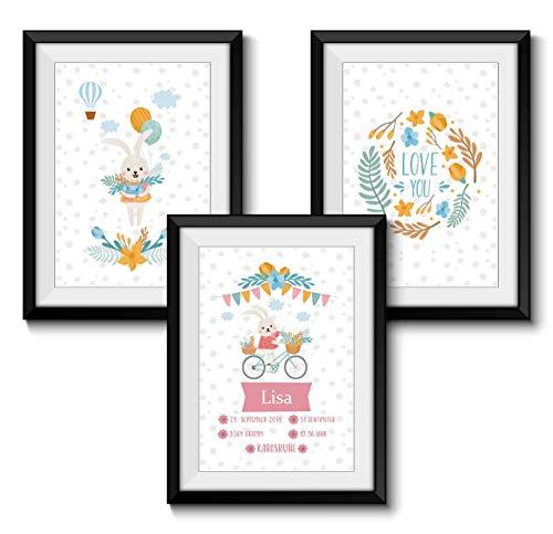 Babyandenken zur Geburt Personalisiert 3er SET GEBURTSBILD HASE ohne Rahmen DIN A4 Format Geschenk Mädchen Baby Kind