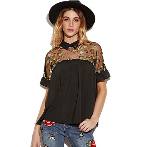 Damen Sommer Sexy T-Shirts Gestickte Blume , LILICAT Mode Frauen Crop Tops Rose Sheer Mesh Top Krawatte Zurück Kurzarm Spitze Bluse Hemd (Schwarz, XL) (Krawatte Top Zurück Tunika)